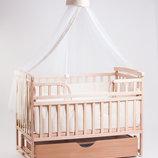 Детская кроватка Детский Сон на маятнике с ящиком натуральный цвет