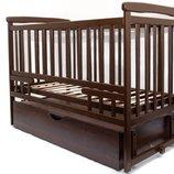 Детская кроватка Детский Сон на маятнике с ящиком темный орех