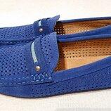 Мужские замшевые мокасины синего цвета 42р замша