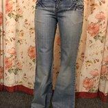Плотные голубые женские джинсы клёш со стразами Reactive W30 L32, как новые