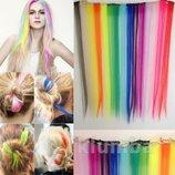 Цветные пряди, локоны для волос на заколках, волосы, яркие, длинные, трессы, прядь