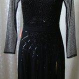 Платье женское черное шикарное вечернее вышивка бисер гипюр миди Frock&Frill р.42-44 6462