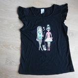 футболка 12 лет майка девочке детская куклы собачка черная