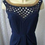 Платье женское шикарное вечернее синее в пол макси декор бренд р.42 6525