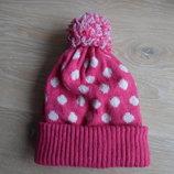 шапка розовая флис 5-10 лет теплая зима детская горох