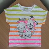 майка блузка 5-6 л футболка белая Розовая Желтая новая Полоска на море George Джорж