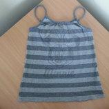 майка блузка 13-14 л футболка серая полоска как новая минни маус микки на море Disney Дисней