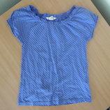 футболка 10-12 лет майка девочке детская новая голубая H&M НМ горошек