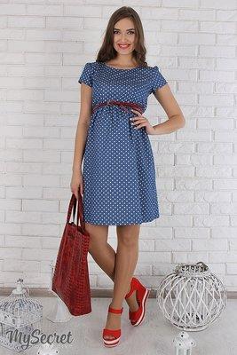 Летнее платье для беременных и кормящих Celena из тонкого джинса, сердечки  на синем. 0ccc9e413c5