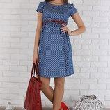 Летнее платье для беременных и кормящих Celena из тонкого джинса, сердечки на синем.