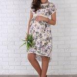 Нарядное платье для беременных и кормящих Flyor, принт жасмин на молоке