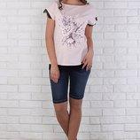 Джинсовые шорты для беременных Juli синие с потертостями и усами