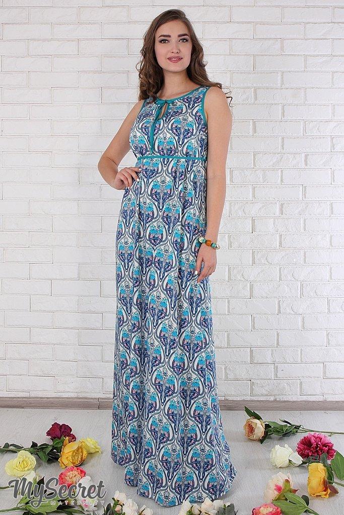 aa9883630ef Сарафан для беременных Adele синий узор с морской волной на молочном   715  грн - платья
