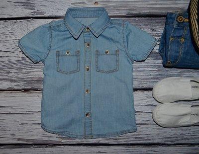 9 - 12 месяцев 74 - 80 см Фирменная красивенная рубашечка рубашка джинсовая тенниска