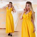 Платье с воланами на декольте 5 Цветов