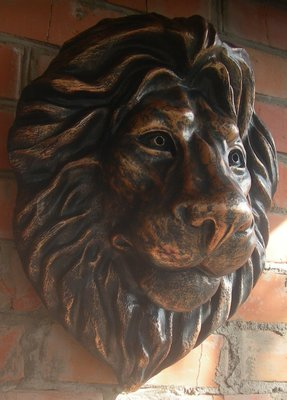 Декоративный элемент для фассада и интерьера, барельеф голова льва