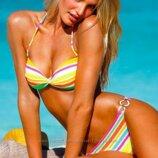 Оригинал, Разноцветный полосатый купальник Victorias S со съемным пуш-ап