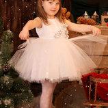 Прокат платье белое бальное Снежинка на 2-3-4 года, корона, Киев