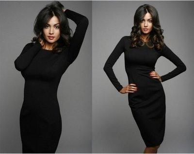 Хіт Трикотажне Класичне плаття міді за коліно футляр довгий рукав різні кольри від р40 по р52 чорне
