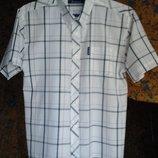 Мужская рубашка светлая, клетка.