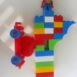 Развивающие яркие конструкторы, аналог Лего, с машинками и человечком