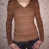 Шерстяной свитерок интересной расцветки, 70 % шерсть, 30 % кашемир, размер С-М, наш 42-44
