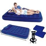 Двуспальный надувной матрас Bestway 67374 с насосом и подушками 203х152 см