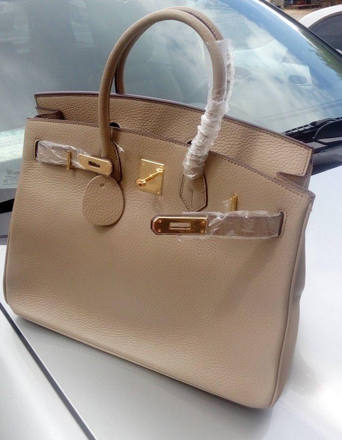 Бежевая сумка гермес