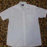 Рубашка белая хлопковая с коротким рукавом размер М