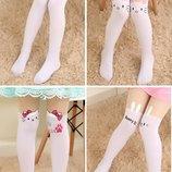 Модные капроновые колготки-чулочки белый низ с Hello Kitty, кошечками и др. , р. 85-155см