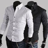 Мужская рубашка в горошек черная L,XL белая XL