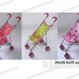 Коляска металлическая для кукол с поворотными колесами розовые, салатовые, синие