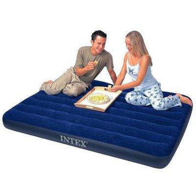 Матрац для отдыха двухместный - Intex CLASSIC 68759 синий, надувной, флок. покрытие, 152х203х22