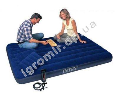 Набор Надувной матрас флокированный Intex Downy Royal 68765 203 152 22 см ручной насос и 2 подушки