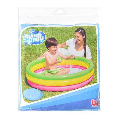 Бассейн детский, 3 надувных кольца 102 25см , надувное дно , 51104
