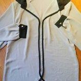 Новая шифоновая блузка свободного кроя удлиненная сзади