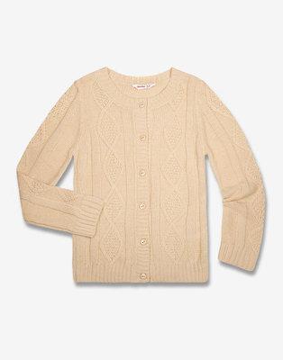 Вязаный кардиган с узорным плетением для девочки на пуговицах