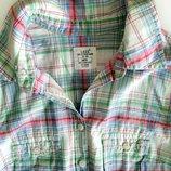 Рубашка сорочка блузка в клетку с коротким рукавом LOGG by H&M