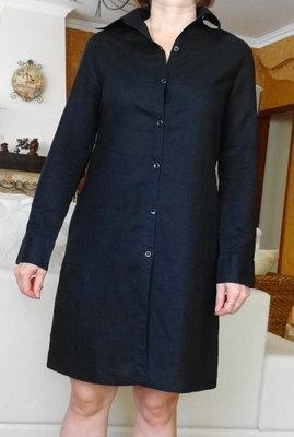 Льняная длинная рубашка платье с длинным рукавом. Размер 38 / 10 / M