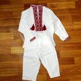 Вышитый костюм, вышиванка и штаны, лен - 1-2 года