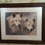 Вышитая картина Два волка