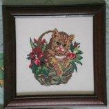 Вышитая картина Кот в корзинке
