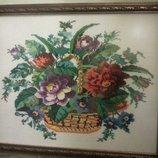 Вышитая картина Букет роз в корзине