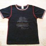Черная футболка с корабликом на 2-3 года, 92-98 см