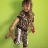 Летний леопардовый костюм с бриджами, на рост 92 -122