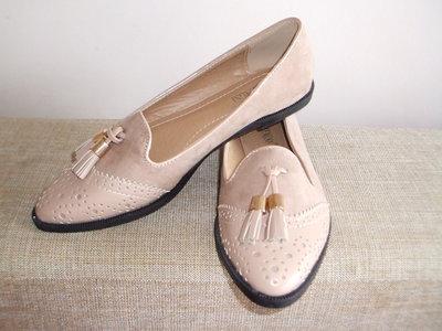 Пудровые Туфли- лоуферы -оксфорды с кисточкой Для Стильных