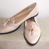 Пудровые Туфли- лоферы -оксфорды Для Стильных
