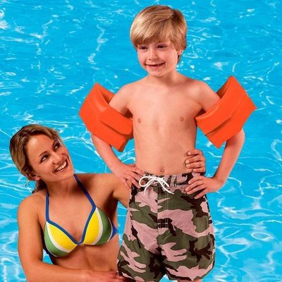 Нарукавники для плаваниянадувные Intex детские винил оранжевые 6-12 лет 25 17 см