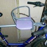 Велокресло крепление на подседельный штырь и рулевую. Детское вело сиденье на любой велосипед.