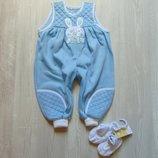 Новый стильный комплект для маленького модника комбинезон пинетки. Tesco. Размер 3-12 месяцев